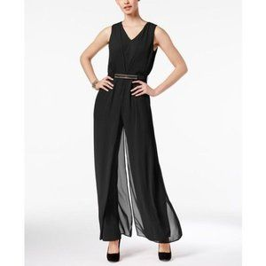Thalia Sodi Black Belted Jumpsuit Lg